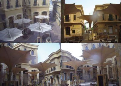 Foldable hydraulic umbrellas in Al-Loushatu Center
